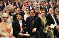 Famous faces: (L-R) Japans Crown Princess Masako, Prince Nahurito, Qatars Sheikha Moza bint Nasser al Misned, Moroccos Princess Lalla Salma and Prince Albert II of Monaco await the start of the inauguration of King Willem-Alexander