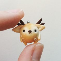 An original design, part of my Plumpkin animal series. About half an inch long. Antlers are mounted with wire, so they are snap resistant. Super Cute Animals, Polymer Clay Charms, Clay Creations, Creative Inspiration, Pens, Miniatures, Wire, Kawaii, Crafty
