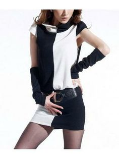 Girls White and Black Color Split Casual Dress