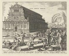 Philips Galle | Tempel van Diana te Efeze, Philips Galle, Hadrianus Junius, 1572 | De tempel van Diana te Efeze, afgebeeld als een Italiaanse basiliek van drie verdiepingen. Op de voorgrond werken architecten en steenhouwers aan de toevoeging van een zuil aan het bouwwerk. Koning Croesus van Lydië is de opdrachtgever. Hij kijkt hoe drie mannen de plaatsing van de zuil bespreken. De prent heeft een Latijns onderschrift en maakt deel uit van een serie over de acht wereldwonderen.