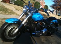 Blue True Fire Custom Painted Motorcyle (Autism Awareness) - Dallas Airbrush