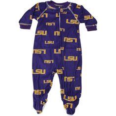 LSU Tigers Infant Purple Full-Zip Raglan Coverall Pajamas