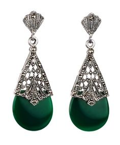 Amazon.com: Green Onyx with Marcasite on Sterling Silver Teardrop Earring: Jewelry