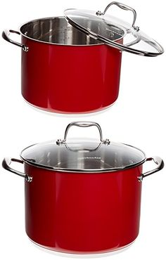 KitchenAid KCS80SCER Stainless Steel 8.0-Quart Stockpot with Lid Cookware - Empire Red