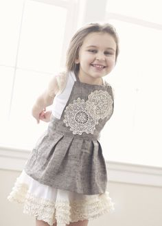Titania - Grey twill apron pinafore with vintage crochet and lace detailing