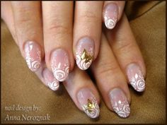 Beautiful floral/ornamental Nail Art in white showing roses with a golden butterfly (French style) ♡