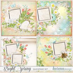 Bright Spring Quickpage Set by karena design Bright Spring, Spring Collection, Vintage World Maps, Design, Products, Design Comics, Beauty Products