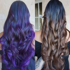 From fashion color to beautiful caramel swirls!! All done without damaging. • • • • I used the Joico Eraser to take out the purple(FYI it wasn't this bright but color stayed so well on the hair just forgot to take a before picture). She had @pulpriothair in her hair and with the eraser it stripped out beautifully and with no damage! It was out of the hair within 20 minutes, retouched up the balayage since it was grown out and toned. Quick and easy 2 step process without having to bleach out…