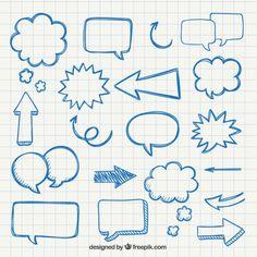 Setas desenhadas mão e balões de fala                              …                                                                                                                                                                                 Mais