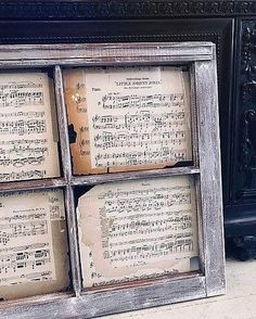 Vintage window repurposed into charming Farmhouse wall Our Transfer Gel was used to apply the sheet music to the window pane glass. Because Transfer Gel dries clear, it works beautifully as a decoupage medium! Versatility in a product is always a plus! Framed Sheet Music, Sheet Music Decor, Vintage Sheet Music, Music Sheets, Window Frame Art, Window Pane Decor, Window Ideas, Window Pane Crafts, Painted Window Panes