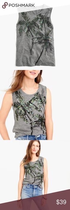 J. CREW Sequined Palm Tree Tank Top Muscle Tee PRODUCT DETAILS The muscle tank + sequin-covered, one-of-a-kind palm trees = the perfect combination.  Cotton/poly. Hand wash. Import. Item G4867. J. Crew Tops Tank Tops