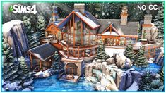 Sims 4 House Plans, Sims 4 House Building, Sims 4 Expansions, Around The Sims 4, Waterfall House, Sims 4 House Design, Winter Cabin, Sims 4 Build, Sims 4 Mods