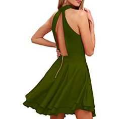 Womens Halter Dresses for Special Occasions Army Green,XS Dress Clothes For Women, Formal Dresses For Women, Modest Dresses, Casual Dresses, Dresses For Work, Halter Dresses, Short Summer Dresses, 1950s Fashion, Women's Summer Fashion