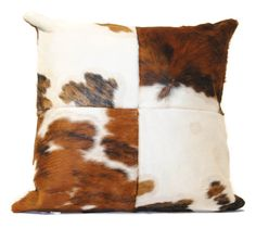 Our cowhide pillows come in single patches or four. #cowhidepillow