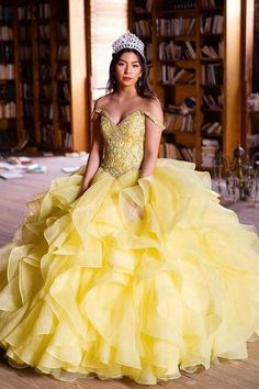 Yellow Princess Ball Gown Quinceanera Dresses 2019 Off Shoulder Cascading Ruffles Crystal Beads Sweep Train Prom Party Gowns For Sweet 15 Sweet 15, Tulle Ball Gown, Ball Gown Dresses, 15 Dresses, Tulle Dress, Dresses Online, Sweet 16 Dresses, Simple Dresses, Cheap Quinceanera Dresses