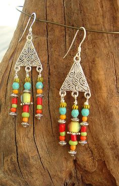 Boho Colorful Chandelier Style Earrings by BohoStyleMe on Etsy