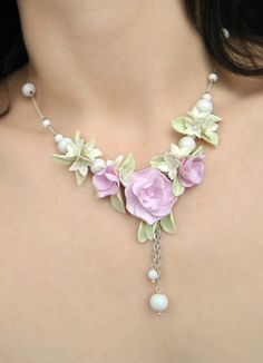 romantic pink rose flower necklace