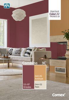 #Hiperlocal es la primer tendencia que forma parte de #ComexTrends2019. Los neutros cálidos y naturales derivados de la piedra suave y el tono rosa horneado de la tierra, dan lugar a una diversidad de colores inspirados en el maíz, desde amarillo oro hasta rojo intenso. Un azul ascendente que evoca el despejado cielo de verano es un acento enriquecedor. Interior Paint Colors For Living Room, Interior Color Schemes, House Color Schemes, Paint Colors For Home, Living Room Colors, Formal Living Rooms, House Colors, Teal Wall Colors, Home Wall Colour