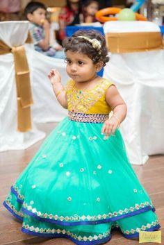 Kids frocks from Yaksi Baby Girl Frocks, Frocks For Girls, Little Girl Dresses, Girls Dresses, Baby Dresses, Kids Indian Wear, Kids Ethnic Wear, Baby Girl Fashion, Kids Fashion