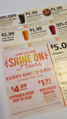 Tropical smoothie cafe coupons