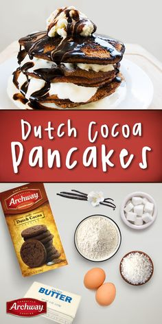 Up your weekend pancake game with these delicious Dutch Cocoa pancakes. Talk about the best lazy Sunday EVER. What you'll need: 10 Archway® Dutch Cocoa cookies, 2 eggs, ½ C sugar, 1 tsp. vanilla, 2 tbsp. butter, salt, ½ C flour, ¼ C milk. Directions: Crush cookies, set aside. Separate egg whites, add in sugar, vanilla, melted butter, salt and mix. Sift flour, add to bowl with cookie crumbs. Mix well. Head nonstick skillet, pour 1/4C batter. Cook and flip to desired pancake consistency…