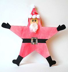 Christmas Crafts for Kids: Santa Star Homemade Christmas Ornament~ Buggy and Buddy could be elf star, too Santa Crafts, Christmas Ornament Crafts, Felt Christmas, Homemade Christmas, Holiday Crafts, Star Ornament, Santa Ornaments, Father Christmas, Christmas Christmas