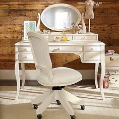 Lilac Desk & Vanity Mirror Hutch #pbteen kids/guest room