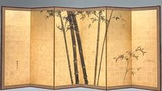 Kishi Ganku,  Japanese, 1749-1838.   Bamboo, 1829. One of a  pair of six-panel Japanese screens; ink and gold on paper. Art Institute of Chicago.