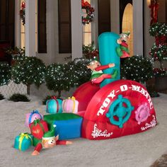 Animated Airblown Inflatable Christmas Toy Production Line Outdoor Decoration