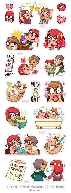 VIBER sticker set 3, Alex & Zoe by Alessandra MAiS2 Criseo, via Behance