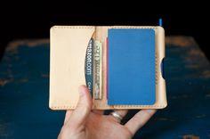 The Original Park Sloper, Hand Stitched natural leather wallet / Moleskine notebook & pen