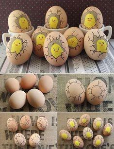 Paint Cute Chicks Inside Eggs #eastereggcrafts