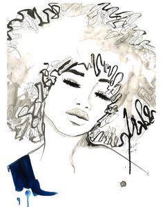 Impresión de la ilustración de moda americano africano acuarela y pluma, Jessica Durrant, - el Afro