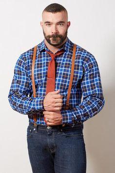 Navy, Royal Blue & Orange Plaid Shirt - Karl