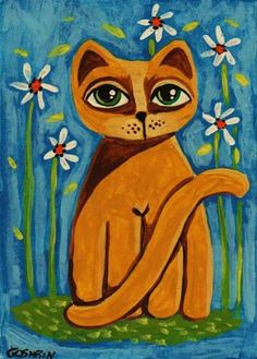 Artist's Portfolio of Cindy Bontempo (GOSHRIN) - Thumbnails for art in gallery 'My Cats' - Page 10 Cat Drawing, Painting & Drawing, Cat Doodle, Orange Cats, Artist Portfolio, Cat Crafts, Cool Pets, Art Google, Cat Art