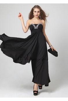 Strapless black semi formal summer long evening dresses
