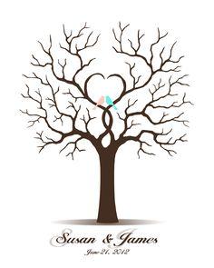 Libro de boda - boda libro de visitas de árbol - JPEG para imprimir - Huella Digital huella digital y firma Arbol para la fiesta de boda, despedida de soltera, reunión familiar, regalo de cumpleaños, Baby Shower o aniversario del día de la madre.  Este arte de pared de diseño es una alternativa única a un libro tradicional. Tus invitados pueden su impresión del pulgar de la hoja y firmar sus nombres a personalizado este único árbol de la boda que se puede apreciar por años en tu muro…