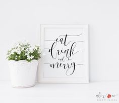 Eat Drink and Be Merry Sign. Eat Drink Be by alexandcoprintables
