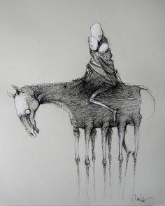 "Daria Kudla; Pen and Ink, 2012, Drawing ""to my imaginary children..."""