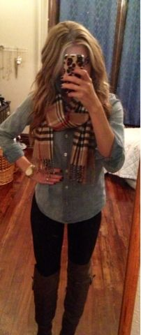 Leggings, denim, boots, burberry scarf. Perfect in every way!