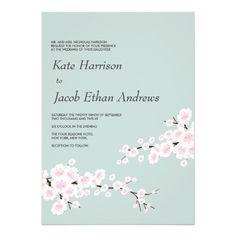 Cherry Blossom Wedding Invite // Seafoam