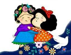 Solo una verdadera hermana te puede dar un abrazo así Cartoon Wall, Cute Cartoon, Cute Images, Funny Images, Frida Kahlo Cartoon, Mafalda Quotes, Frida And Diego, Snoopy Pictures, My Superman