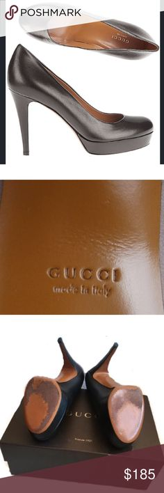 "Authentic Gucci Women's leather pumps shoes Worn once, in great condition leather Gucci shoes, made in Italy. Heel SZ 4"" Gucci Shoes Platforms"