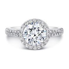 18K White Gold Diamond Band Bezel-set Accent Diamond Halo Engagement Ring - FM27158-18W