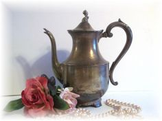 Tea Pot WM A Rogers Coffee Pot Cottage Chic by UpstairsAttic, $22.95