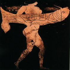 Woman carrying an oversized caricature of a phallus (c. 470 BC) [1][2][3] is a column krater attributed to the Pan Painter. It was found in Etruria and currently resides in the Antikensammlung Berlin (Inventar-Nr. 3206).