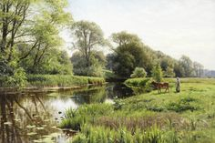 Peder Mørk Mønsted (Danish, By the river Watercolor Landscape, Landscape Art, Landscape Paintings, France Art, Cow Art, Country Landscaping, Seascape Paintings, Art Paintings, French Artists