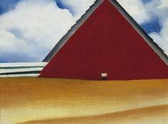 Georgia O'Keeffe's Red Barn in a Wheatfield (1928).