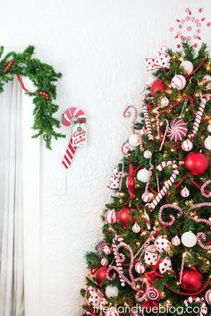 Candy Cane Space Saving Christmas Tree - Tried & True Creative Corner Christmas Tree, Christmas Wreaths, Christmas Decorations, Xmas, Lighted Tree Topper, Holiday Crafts, Holiday Decor, Tree Toppers, Candy Cane
