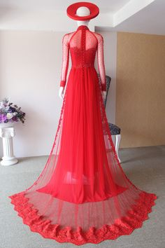 LAHAVA red traditional applique lace and hand-beads. Ao Dai Wedding, Wedding Dress, Traditional Vietnamese Wedding, Evening Dresses, Prom Dresses, Fancy Gowns, Vietnamese Dress, Designer Gowns, Beautiful Gowns